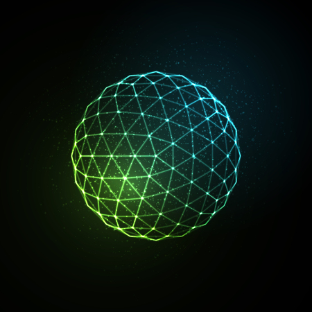 3D illuminated neon sphere of glowing particles. Futuristic vector illustration. HUD element. Technology concept Illustration
