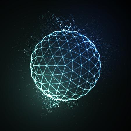 esfera: 3D iluminado esfera de neón de partículas brillantes. ilustración vectorial futurista. elemento de HUD. concepto de la tecnología