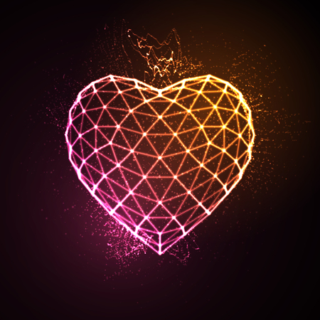 Happy Valentines Day. 3D illuminated neon heart of glowing particles and wireframe. Vector illustration. 일러스트
