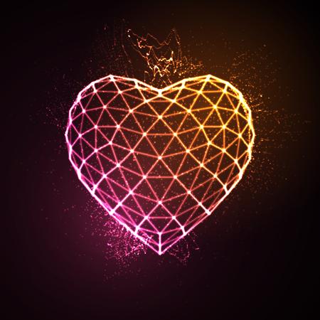 Fijne Valentijnsdag. 3D verlichte neon hart van gloeiende deeltjes en wireframe. Vector illustratie. Stockfoto - 53133381