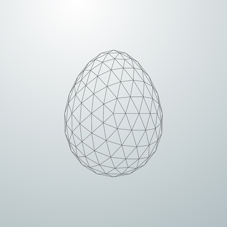 mesh: Easter egg 3D polygonal shape. Vector illustration
