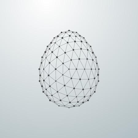 Easter egg 3D polygonal shape. Vector illustration