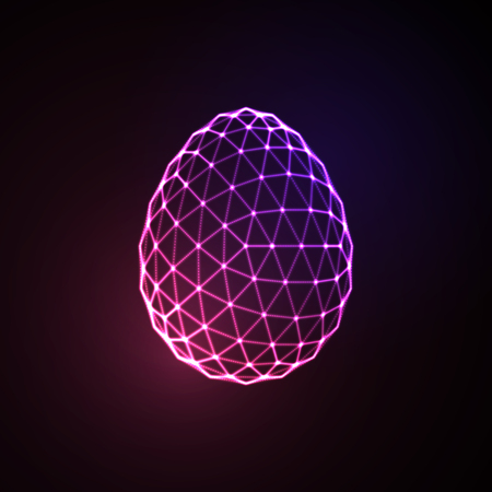 Easter egg 3D polygonal shape. Neon glowing sign. Vector illustration