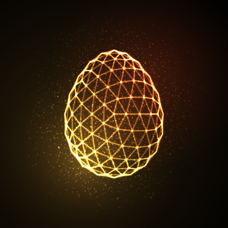 Easter egg 3D polygonal shape. Neon glowing sign. Vector illustration