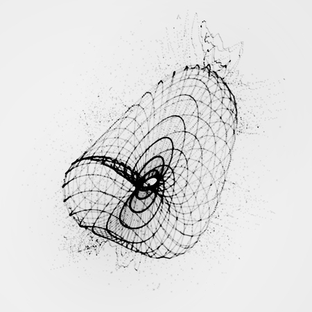 digital wave: 3D shape of particles array, wireframe and splashes. Ink stylized vector illustration Illustration