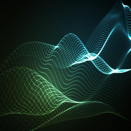 sound wave: 3D illuminated abstract digital wave of glowing particles and wireframe. Neon Sign. Futuristic vector illustration. HUD element. Technology concept. Abstract background Illustration