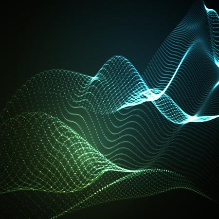sonido: 3D iluminado de onda digital abstracto de partículas brillantes y estructura metálica. Señal de neón. ilustración vectorial futurista. elemento de HUD. Concepto de la tecnología. Fondo abstracto