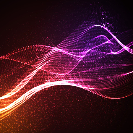 3D illuminato onda digitale astratta di particelle incandescenti e wireframe. Insegna al neon. illustrazione vettoriale futuristico. elemento HUD. Concetto di tecnologia. abstract background
