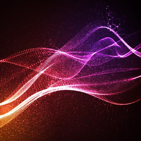 3D verlichte abstracte digitale golf van gloeiende deeltjes en wireframe. Neon bord. Futuristische vector illustratie. HUD element. Technologie concept. achtergrond
