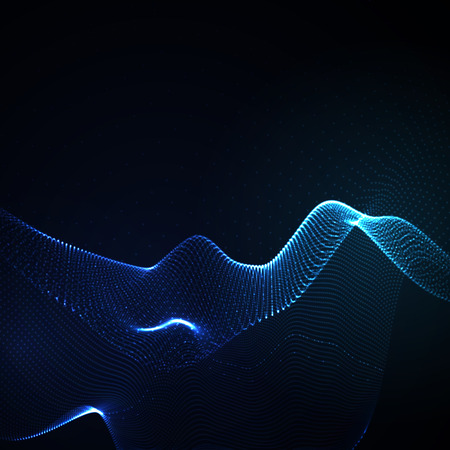 wave abstract: 3D illuminated abstract digital wave of glowing particles and wireframe. Neon Sign. Futuristic vector illustration. HUD element. Technology concept. Abstract background Illustration
