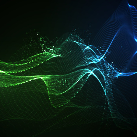 3D illuminated abstract digital wave of glowing particles and wireframe. Neon Sign. Futuristic vector illustration. HUD element. Technology concept. Abstract background