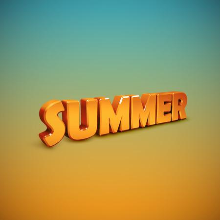 summer sign: Summer. vector illustration of 3d Summer sign.
