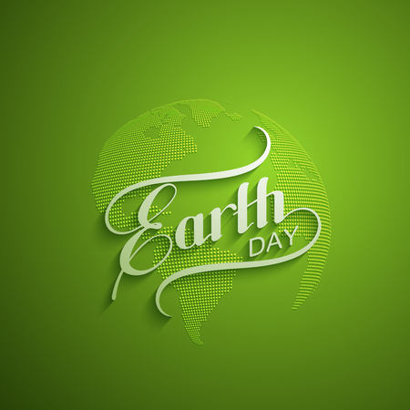recycling logo: Earth Day. Vector illustration with lettering label and halftone planet. Earth Day sign design. Ecology event. 22 of April Illustration