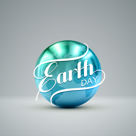 golden globe: Earth Day. Vector illustration with lettering label and golden metallic planet. Earth Day sign design. Ecology event. 22 of April. Earth Globe with lettering Illustration