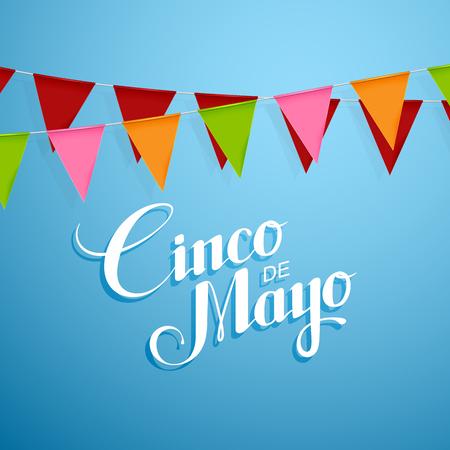 immigrants: Cinco de Mayo vector illustration with bunting flags. 5 of May holiday vector. Cinco de Mayo holiday banner.  Cinco de Mayo holiday lettering. Cinco de Mayo handwritten illustration