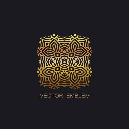 artdeco: vector floral golden emblem. art-deco golden emblem. golden monogram sign. art-deco line art element for design Illustration