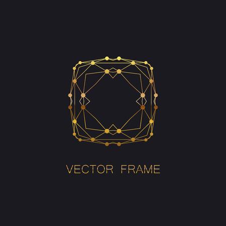 artdeco: vector floral golden monogram. art-deco golden frame. golden monogram frame. art-deco line art element for design