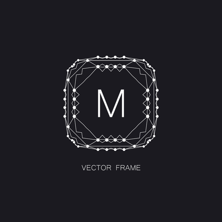 artdeco: vector floral monogram. art-deco white frame. monogram frame. art-deco line art element for design Illustration