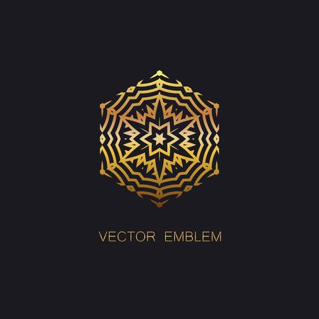 artdeco: vector floral golden emblem. art-deco golden emblem. golden monogram sign. art-deco line art element for design Illustration