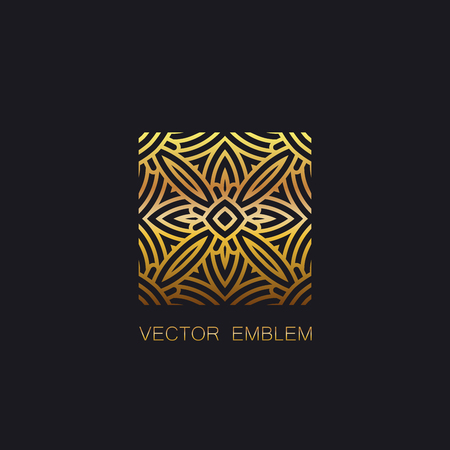 art logo: vector floral golden emblem. art-deco golden emblem. golden monogram sign. art-deco line art element for design Illustration