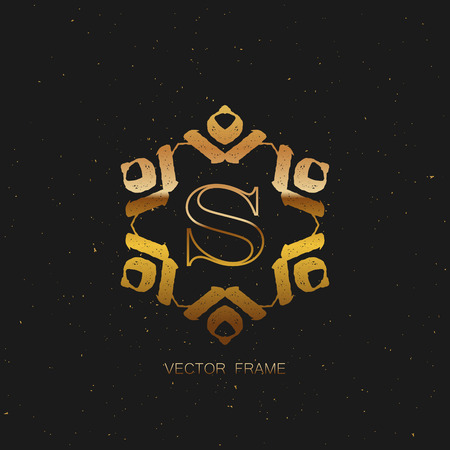 artdeco: vector floral golden monogram. art-deco golden frame. golden monogram frame. art-deco line art element for design