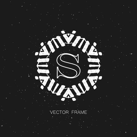 design frame: vector floral monogram. art-deco white frame. monogram frame. art-deco line art element for design Illustration
