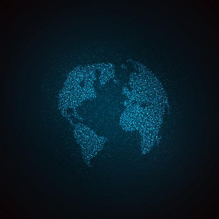 it: light it up blue. vector illustration of a world map. globe label design. world global communication concept. international communication concept. global world vector map. halftone vector world map