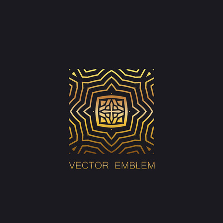 artdeco: vector floral golden emblem. art-deco golden emblem. golden monogram sign. art-deco line art element for design. golden celtic ornament for design. vector golden emblem