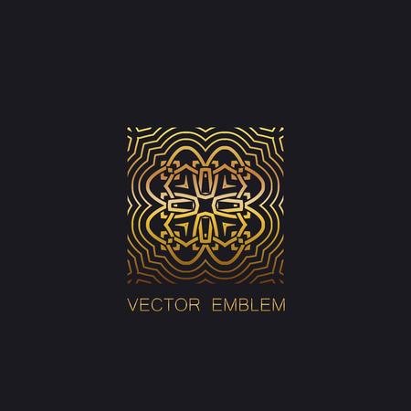 art logo: vector floral golden emblem. art-deco golden emblem. golden monogram sign. art-deco line art element for design. golden celtic ornament for design. vector golden emblem