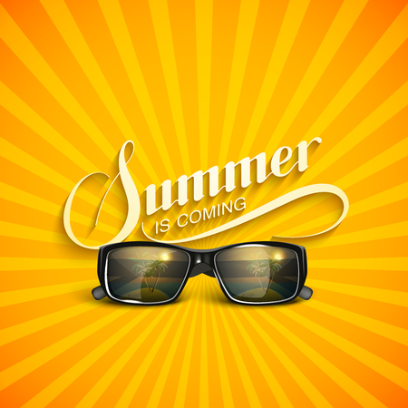 eyewear fashion: vector typographic illustration of handwritten Summer retro label with sunglasses. lettering Summer composition. Vector sunglasses. Vacation Summer vector concept with sunglasses Illustration