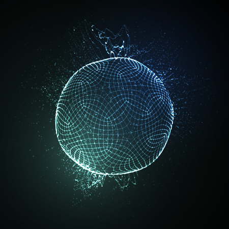 nano: 3D illuminated neon sphere of glowing particles. Futuristic vector illustration. HUD element. Technology concept. Nano or microbiology vector. Pharmacy concept