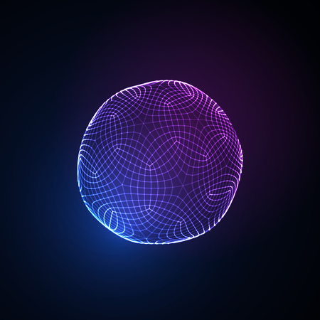 3D illuminated neon sphere of glowing particles. Futuristic vector illustration. HUD element. Technology concept. Nano or microbiology vector. Pharmacy concept