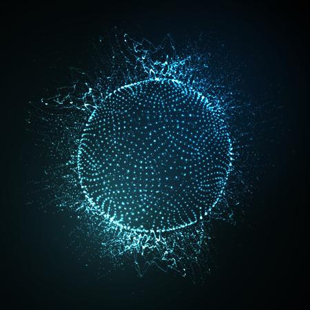 3D iluminado esfera de neón de partículas brillantes. ilustración vectorial futurista. elemento de HUD. Concepto de la tecnología. Nano o vector de la microbiología. concepto de farmacia