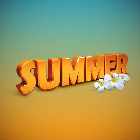 summer sign: Summer. Vector illustration of 3d Summer sign. Summer banner with frangipani flowers. Summer season illustration Illustration