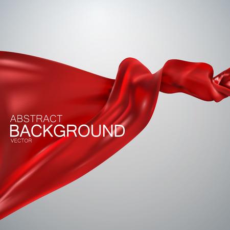 Rode zijde weefsel. Vector illustratie met rood satijn of zijde stof. Vector zijde textiel Stockfoto - 57452086