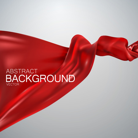 Red silk fabric. Vector illustration with red satin or silk fabric. Vector silk textile