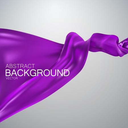 velvet ribbon: Purple silk fabric. Vector illustration with purple satin or silk fabric. Vector silk textile