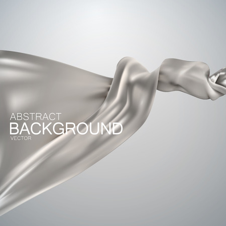 silk fabric: Silver silk fabric. Vector illustration with silver satin or silk fabric. Vector silk textile
