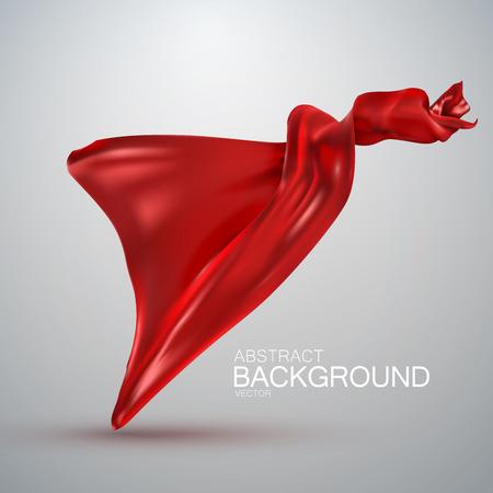 velvet ribbon: Red silk fabric. Vector illustration with red satin or silk fabric. Vector silk textile