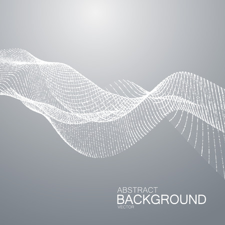 digital wave: 3D abstract digital wave of particles and wireframe. Futuristic vector illustration. HUD element. Technology concept. Abstract background