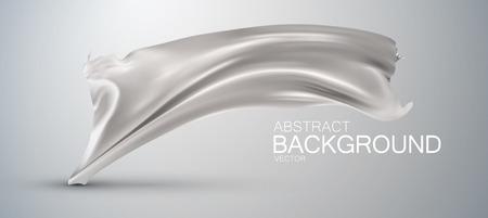 wrinkle: Silver silk fabric. Vector illustration with silver satin or silk fabric. Vector silk textile