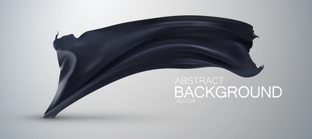 black satin: Black silk fabric. Vector illustration with black satin or silk fabric. Vector silk textile