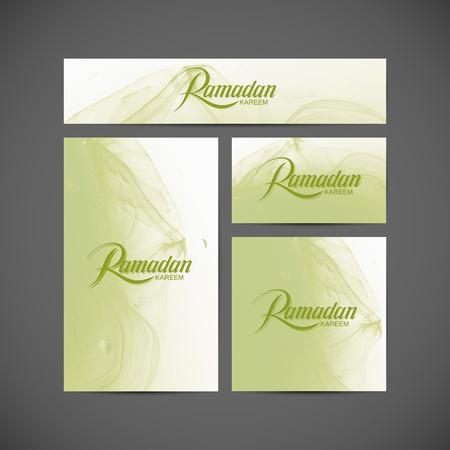 retro postcard: Ramadan Kareem. Vector typographic illustration of holiday postcard, brochure and banner designs with handwritten Ramadan Kareem retro label and fluid ink. Lettering of muslim holy month Ramadan on fluid ink background