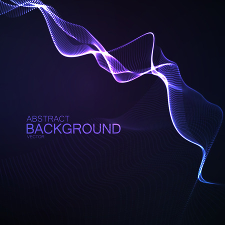 3d lightning: 3D illuminated abstract digital wave of glowing particles and wireframe. Neon Sign. Futuristic vector illustration. Lightning. Technology concept. Abstract lightning background