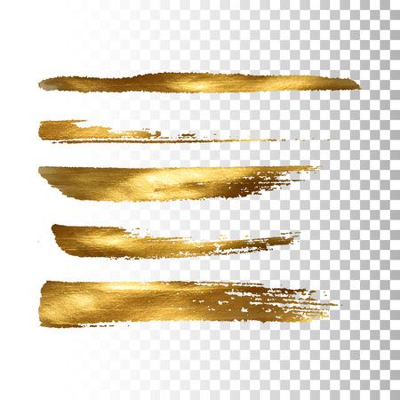 set d'oro vernice pennellata. Vettore vernice d'oro raccolta pennellata. Estratto oro scintillante strutturato pennellate. Illustrazione di vettore di un Golden banner lamina Vettoriali