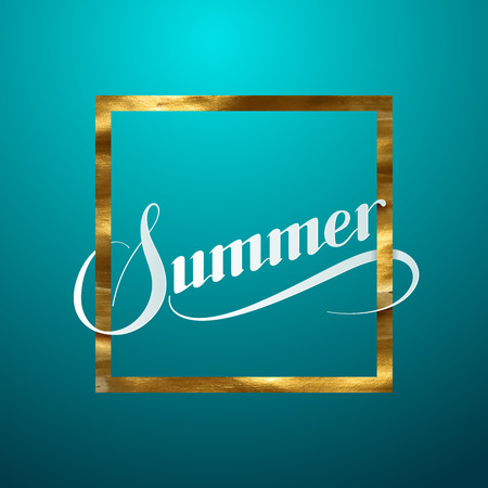 summer sign: Summer. Vector typographic illustration of handwritten Summer retro label. Lettering composition with golden frame and Summer sign
