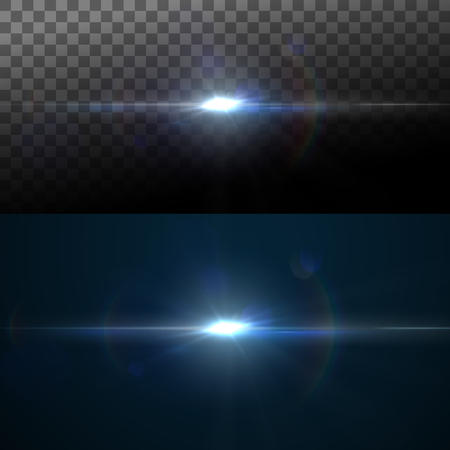 Digital lens flare effect. Vector illustration of lens flare light effect. VFX element for design