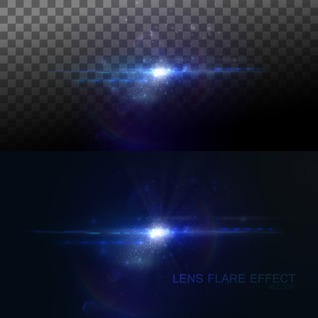 flare: Digital lens flare effect. Vector illustration of lens flare light effect. VFX element for design