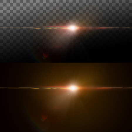Digital lens flare effect. Vector illustration of lens flare light effect. VFX element for design. Glowing transparent light burst explosion. Decoration element with light rays.  Glare light effect Illustration