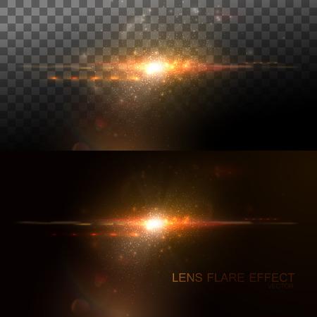 Digital lens flare effect. Vector illustration of lens flare light effect. VFX element for design. Glowing transparent light burst explosion. Decoration element with light rays. Glare light effect